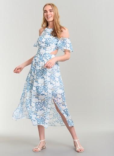 Agenda Bel Dekolteli Çiçek Desenli Elbise Mavi